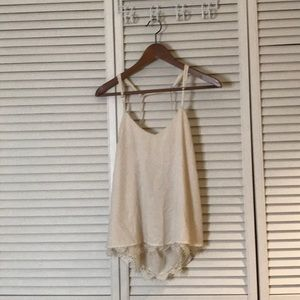 Tops - Cream tank with low back and lace trim